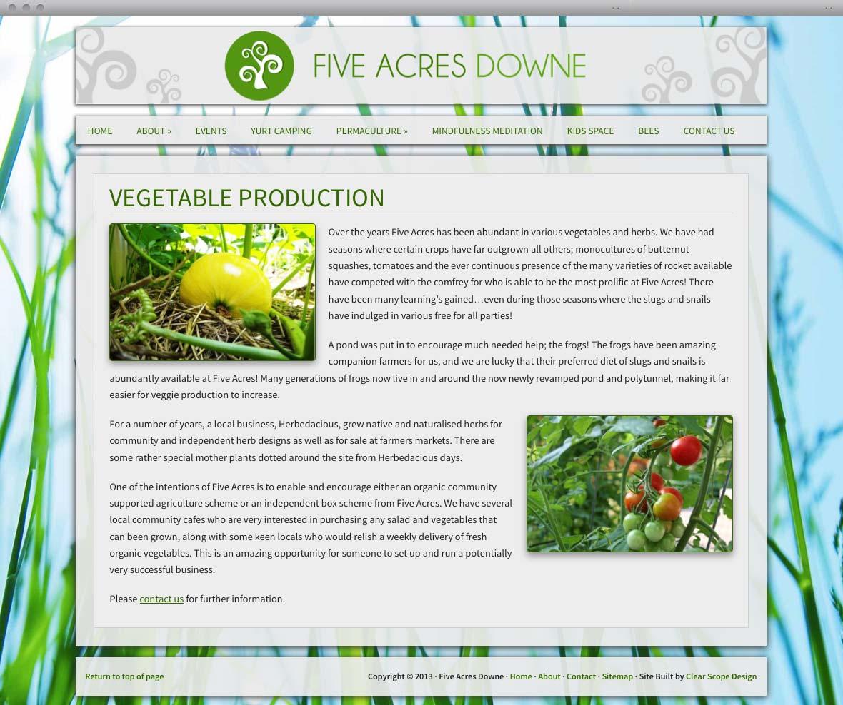 Five Acres Content Page