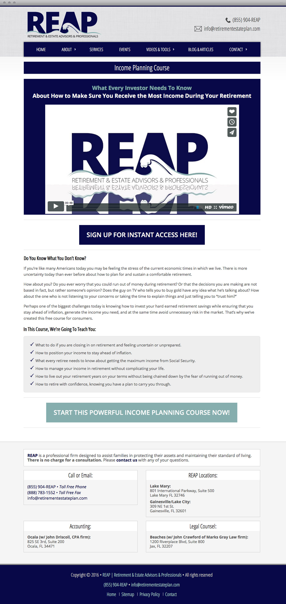 REAP Content Page