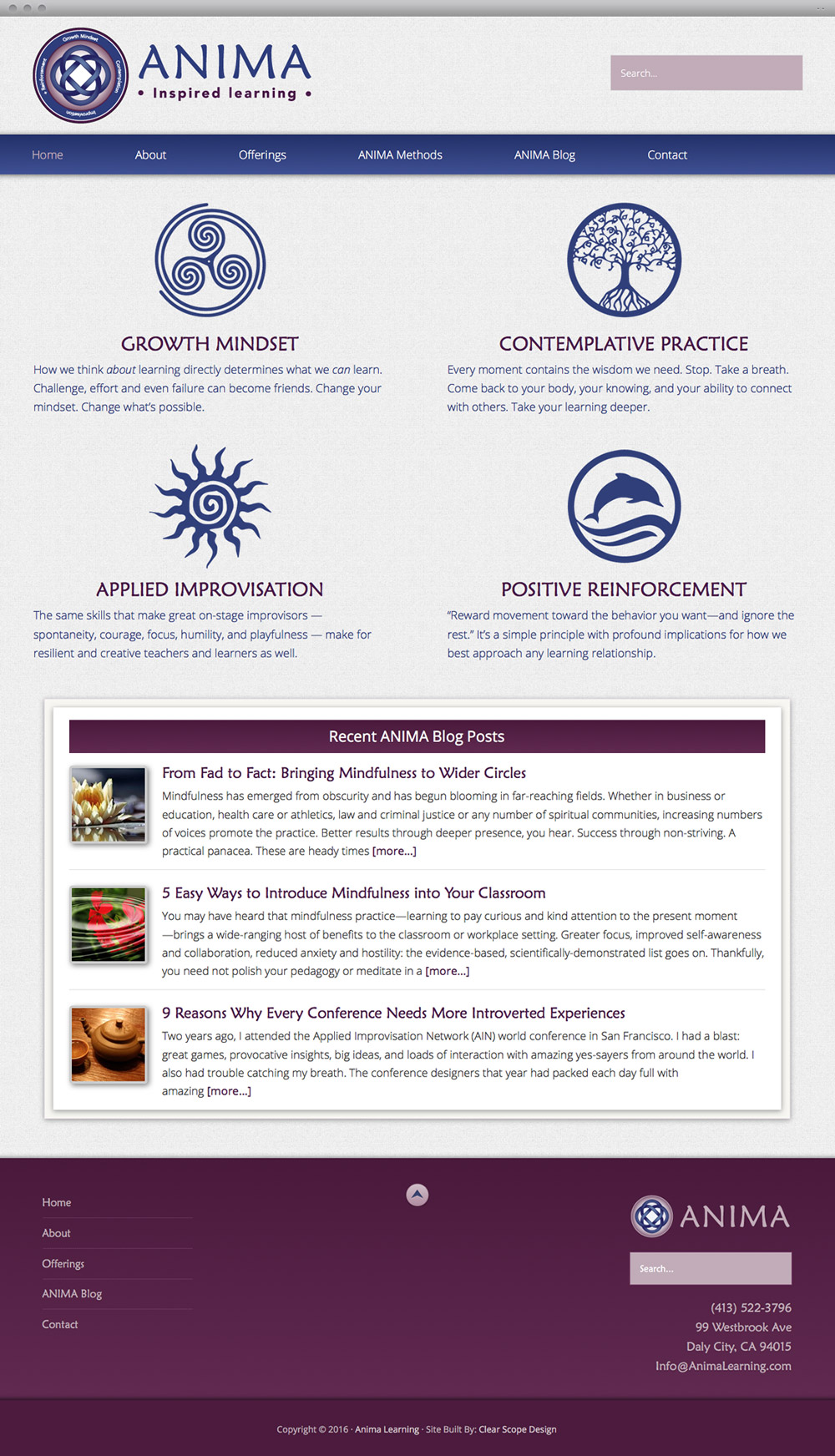 Anima Learning Content Page